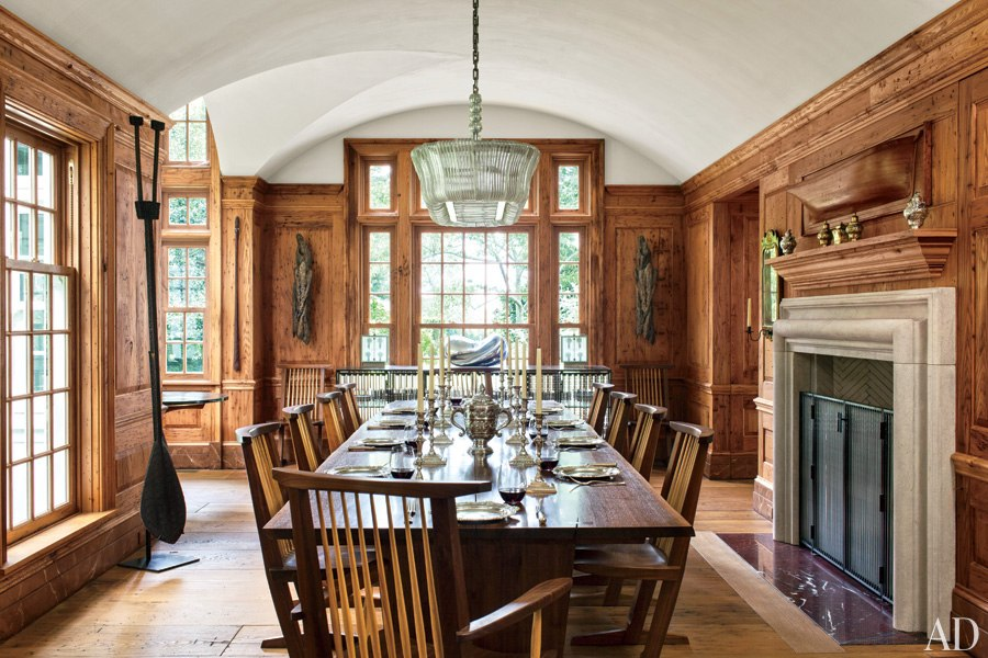 Chestnut-paneled dining room - Architectural Digest 2
