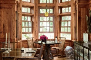 Chestnut-paneled dining room