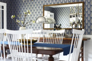 Wainscoting & crown moulding dining room