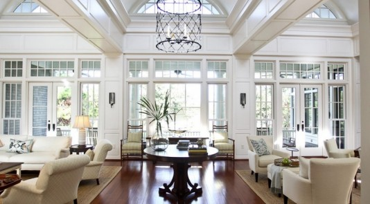 White living room with panel moulding