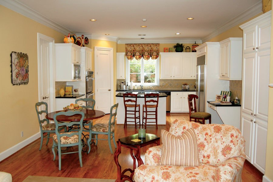 Kitchen with moulding - before - Architectural Digest