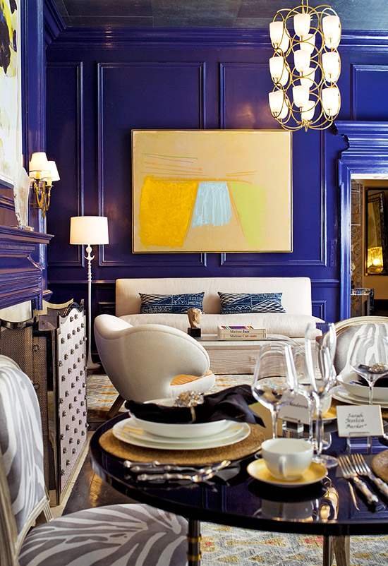 High gloss indigo paint on the paneled walls - Traditional Home