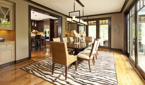 Wood stained trimwork - dining room