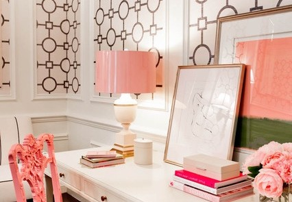 Feminine Home Office wallpaper and trim