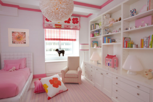 Pop of color trim in a kids room