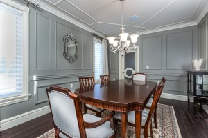 A truly finished dining room with Metrie Fashion Forward doors and trim