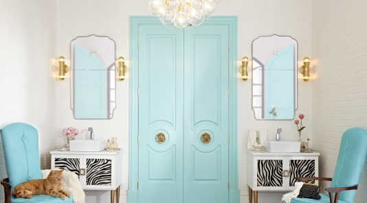 A pair of Metrie Fashion Forward interior doors painted the iconic Tiffany blue, plus trim elements from the same Then & Now Finishing Collection, helped designer Lisa Mende create this glamorous space for DXV.