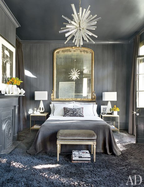 Gray bedroom with fireplace and crown - Architectural Digest 2