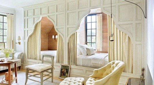 Cozy Beds Nestled In Wall Nooks via Architectural Digest