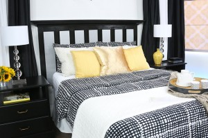 Designer Andrew Pike DIYs a headboard with Metrie moulding for The Marilyn Denis Show.