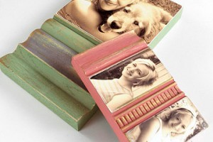 DIY rustic photo block made from trim source Better Homes and Garden