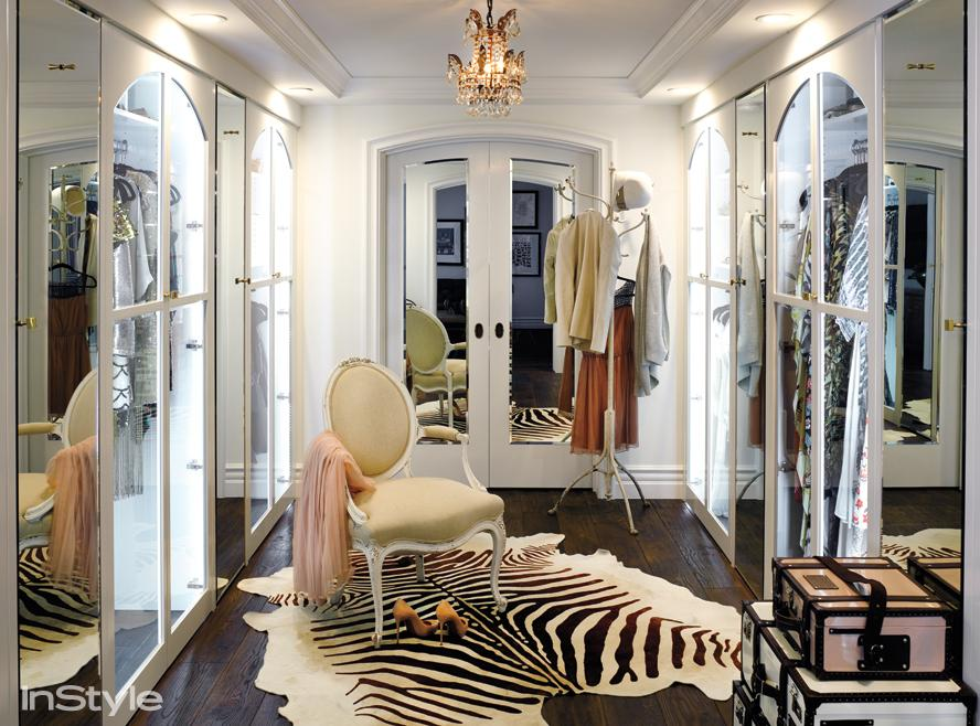 Stunning mirrored doors and trimwork throughout Lauren Conrad's Beverly Hills master closet. Source: InStyle