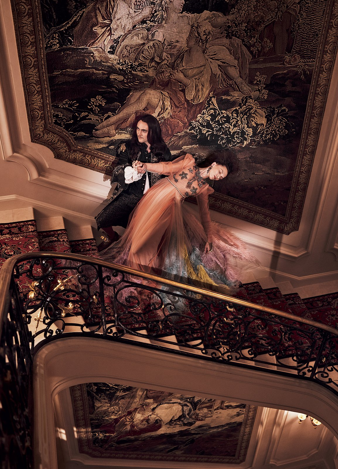 A staircase in the newly renovated Ritz Paris. Source: Vogue