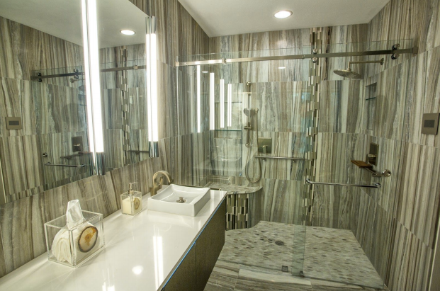 A sleek bathroom designed by Jill Ornelas of Ambiance Interior Design.