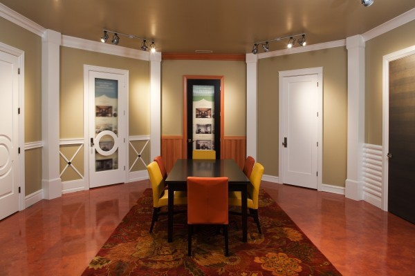 Medallion Industries showcases Metrie interior door in their Portlan showroom.