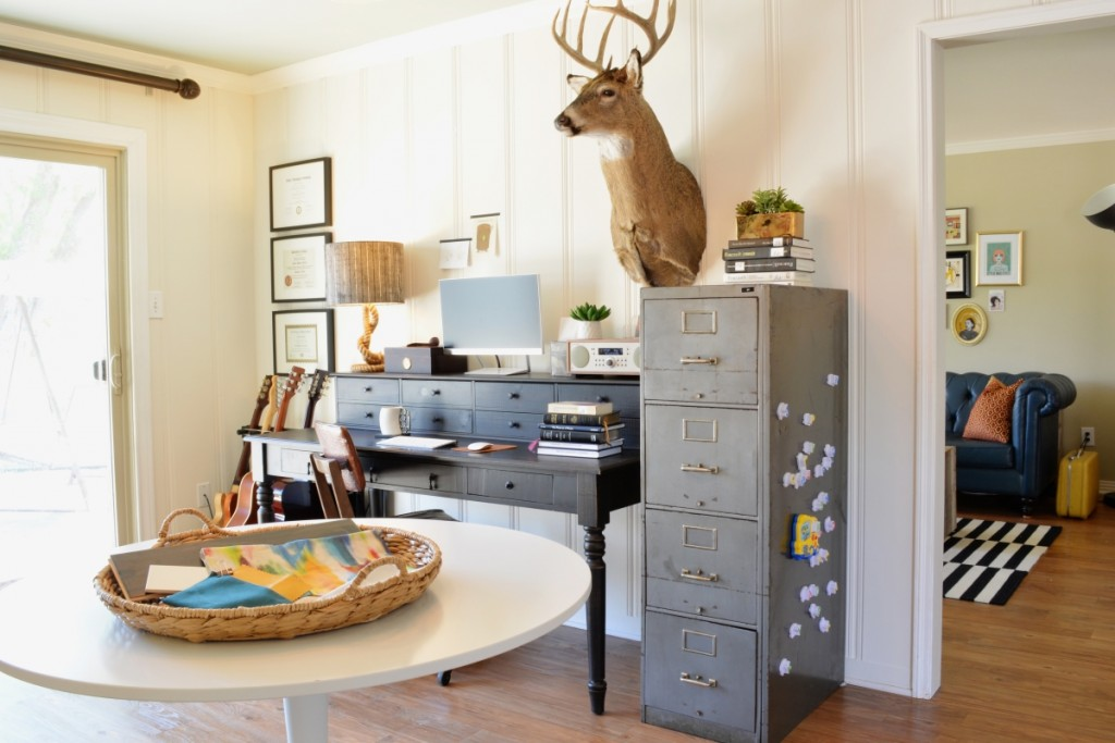 Lesley Myrick's masculine home office. Image Source: Lesley Myrick