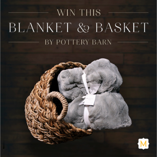 Pottery Barn blanket and weave basket was our third My Dream Metrie Space Pinterest Contest