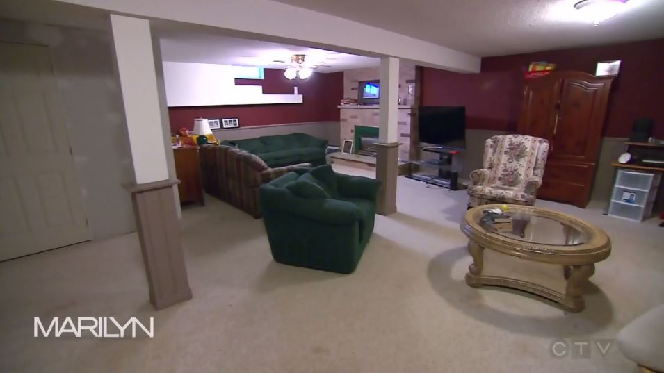 Before Andrew Pike's stunning basement reveal. Image Source: The Marilyn Denis Show.