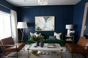 Studio McGee creates a stunning wall treatment with Metrie interior finishings in a formal living room.