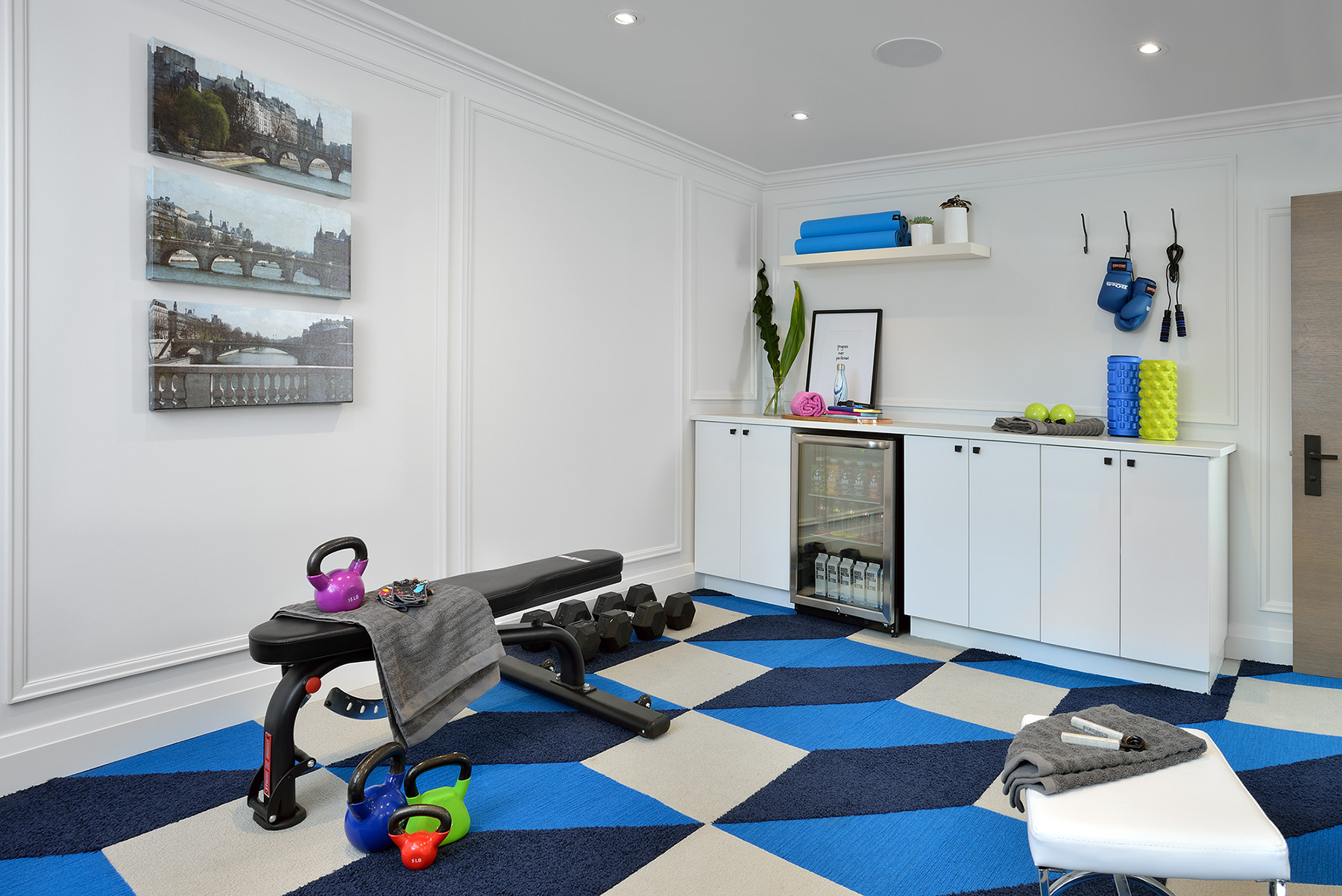 Lisa Canning uses Metrie's Very Square collection to create a Zen home gym. Image Source: Lisa Canning.