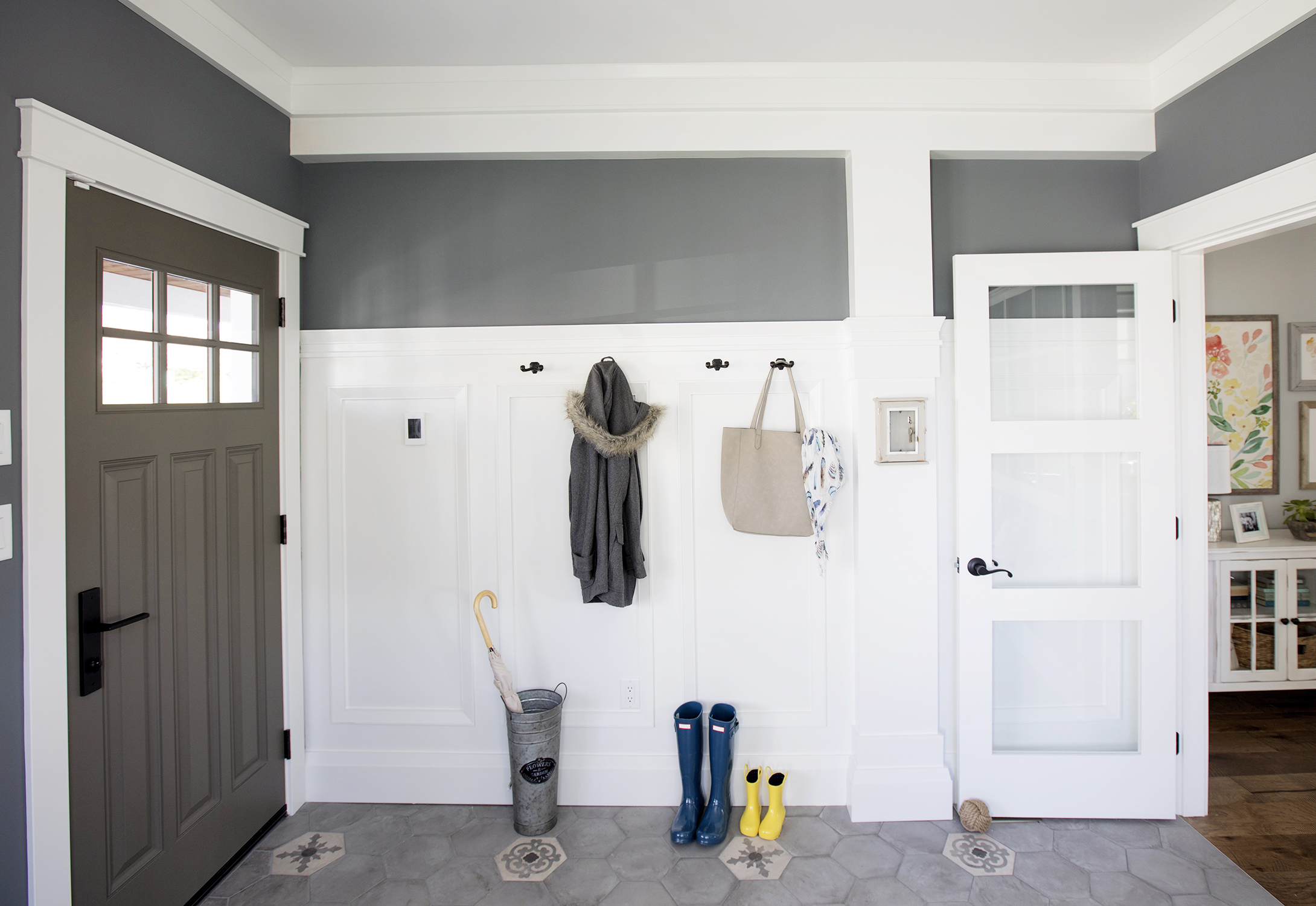 Laila and Dan's new mudroom feature Metre's stunning trim elements on Love It or List It Vancouver. Image Source: HGTV Canada.