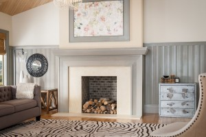 Metrie's Truft Craft trim elements creates a distinctive fireplace treatment.