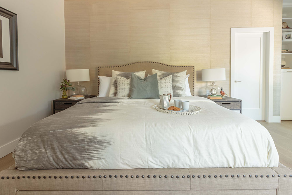 Jillian Harris works her magic on a couple's master bedroom and incorporates geometrically precise and crisp casing and baseboards. Image Source: HGTV Canada.