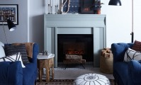 Megan Plufs Designs' use Metrie's casing to create living room's centrepiece Fireplace.