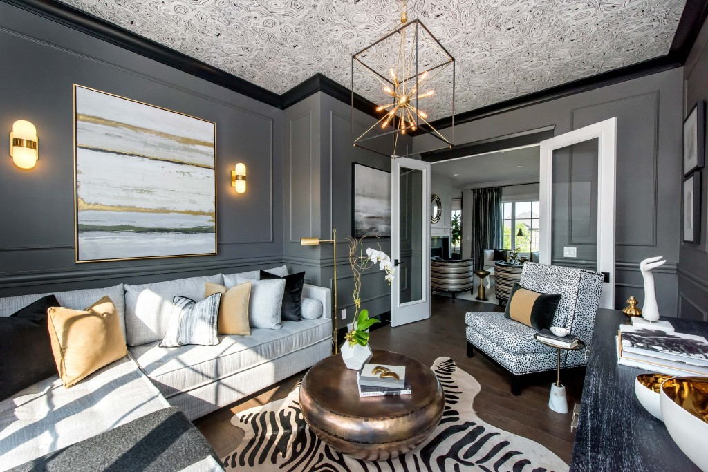 Beyond in love with this dramatic room by Atmosphere Interior Designs, especially that beautiful grey wainscoting!