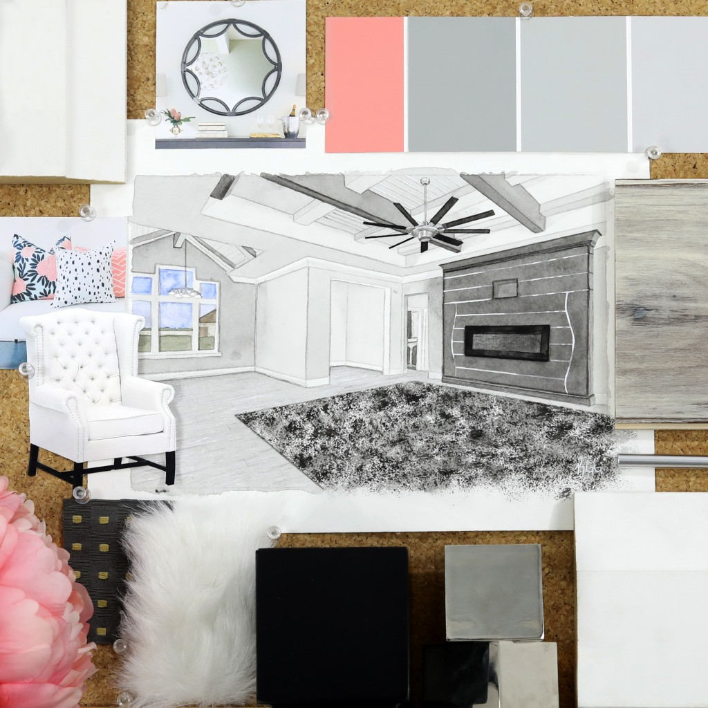 Our July moodboard is definitely a refined edgy style. We're absolutely in love with this bold living room from Champion 1 Builders for the Metrie Every Room Tells – A Story Builder & Designer Challenge.