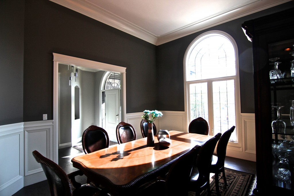 Kerr's Home knows that white Very Square wainscoting is the perfect paired with a dark, bold color.