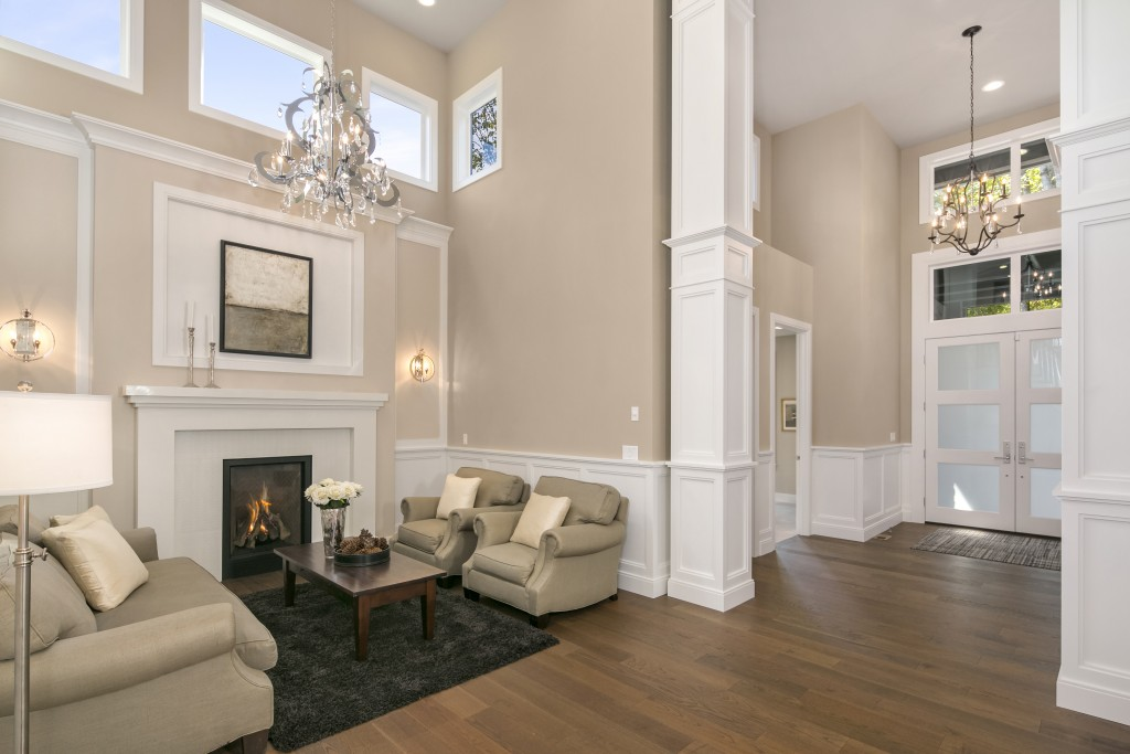 We love the wainscoting in this Terrene Homes living room, perfectly proportioned with the high ceilings.