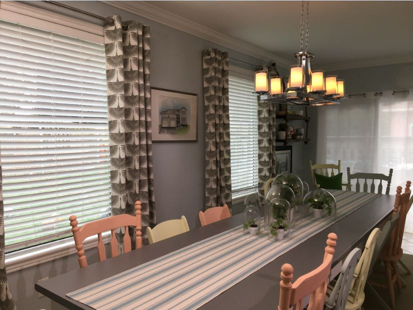 The 'Reno, Set, Go!' team uses Metrie's Pretty Simple Collection crown moulding in this charming kitchen and dining area.