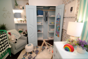 Solid doors from Metrie's Fashion Forward Collection makes an appearance in Reno, Set, Go! nursery transformation! Image source: Scott Brothers Entertainment.