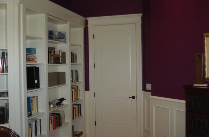 Tom Griffith uses Metrie French Curves poplar doors in this elegant library.