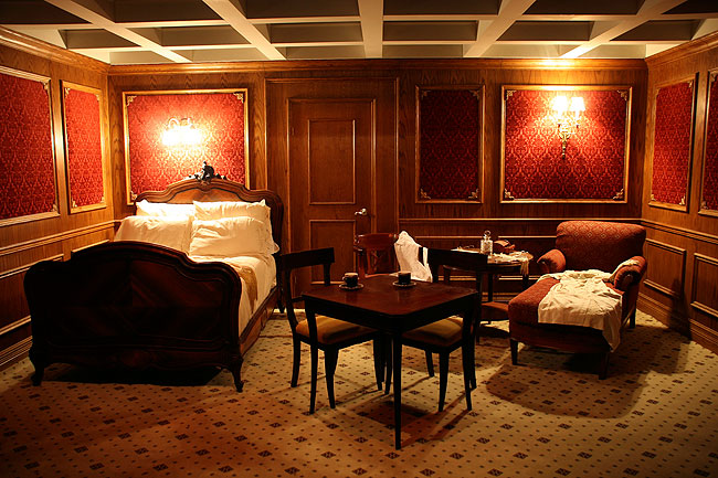 Striking traditional interior finishing found in the first class cabin in the Titanic.