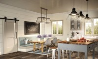 Metrie's Option {M}'s Modern Farmhouse kitchen and dining area.