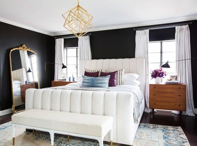 Shay Mitchell's bedroom showcasing incredible trimwork. Source: Architectural Digest.