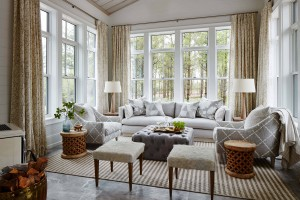 Metrie's tongue and groove wall paneling featured in Sarah Richardson's sunroom.
