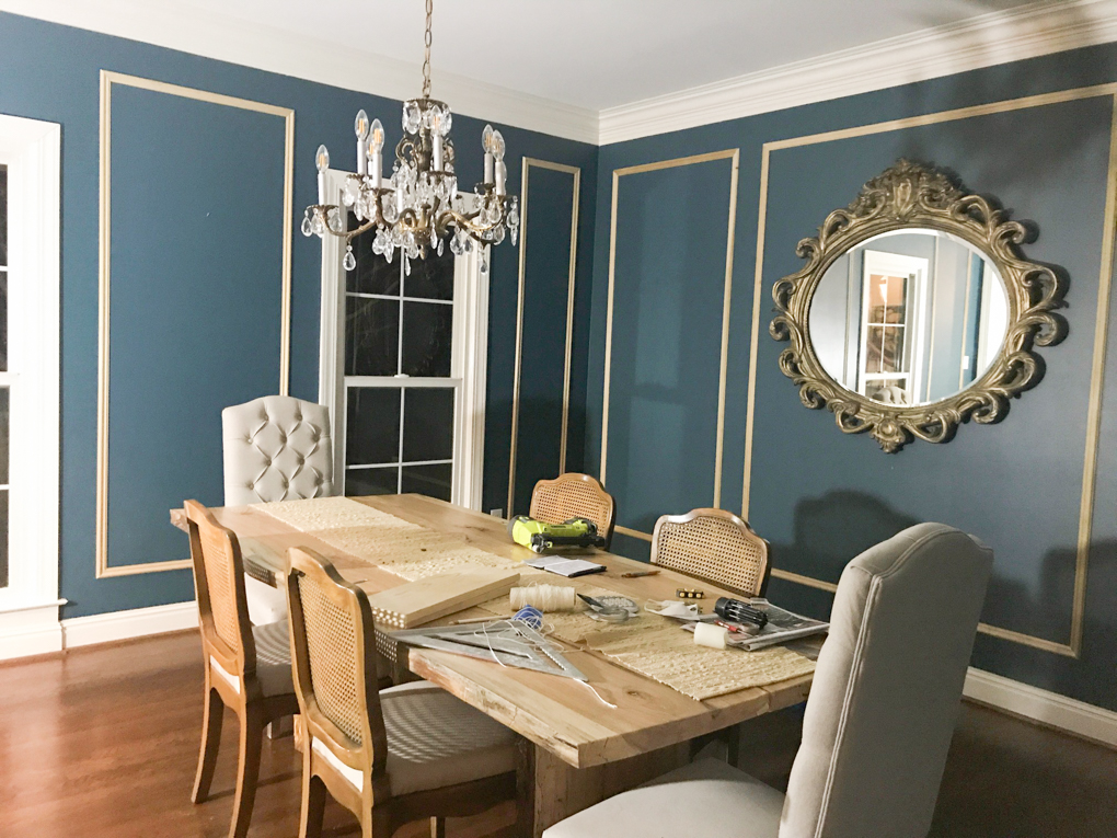Leslie's dining room looks sensational with some new panel moulding from our French Curves collection.