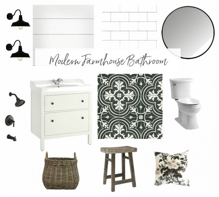Kim provides an inspiration board in the midst of drywall and subway tile installation this week.