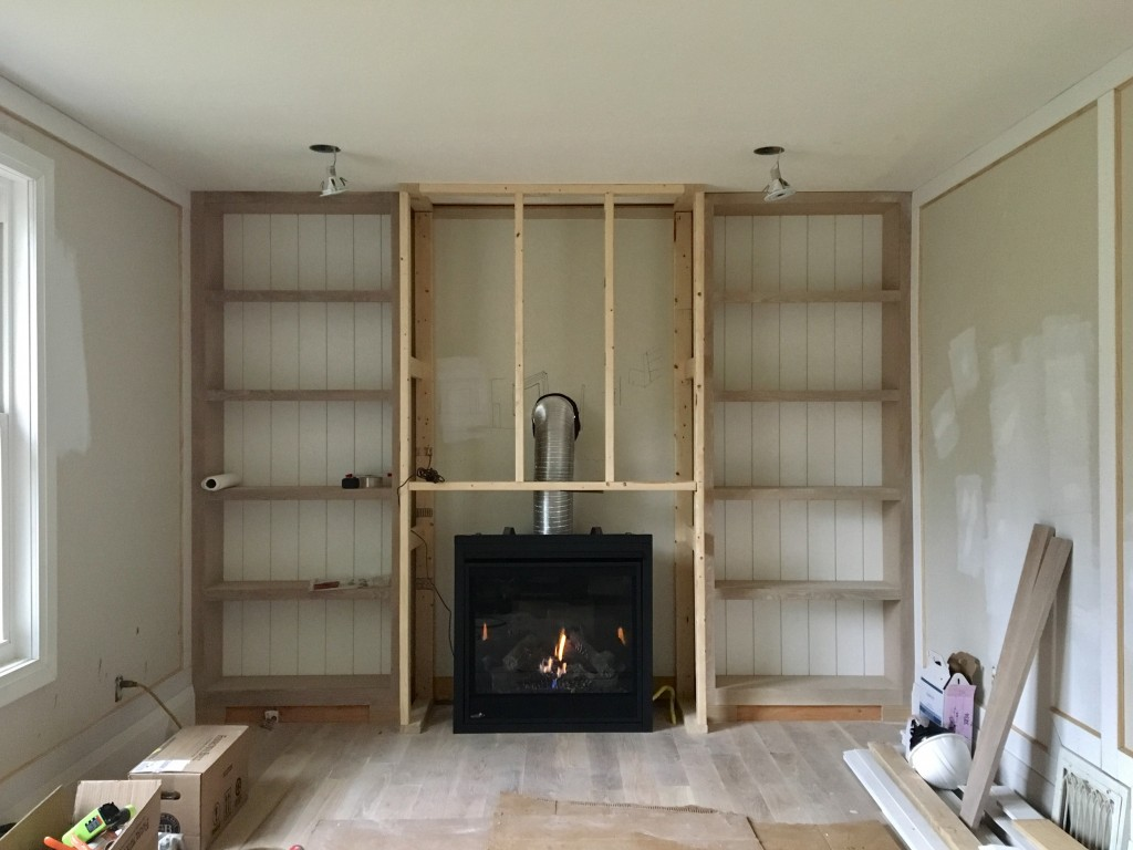 Alyssa's week was dominated by built-ins, wall panels, and a brand new fireplace in her family room transformation.