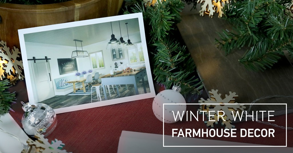 Winter-white, and green and black, help create a perfectly inviting Modern Farmhouse home for the holidays.