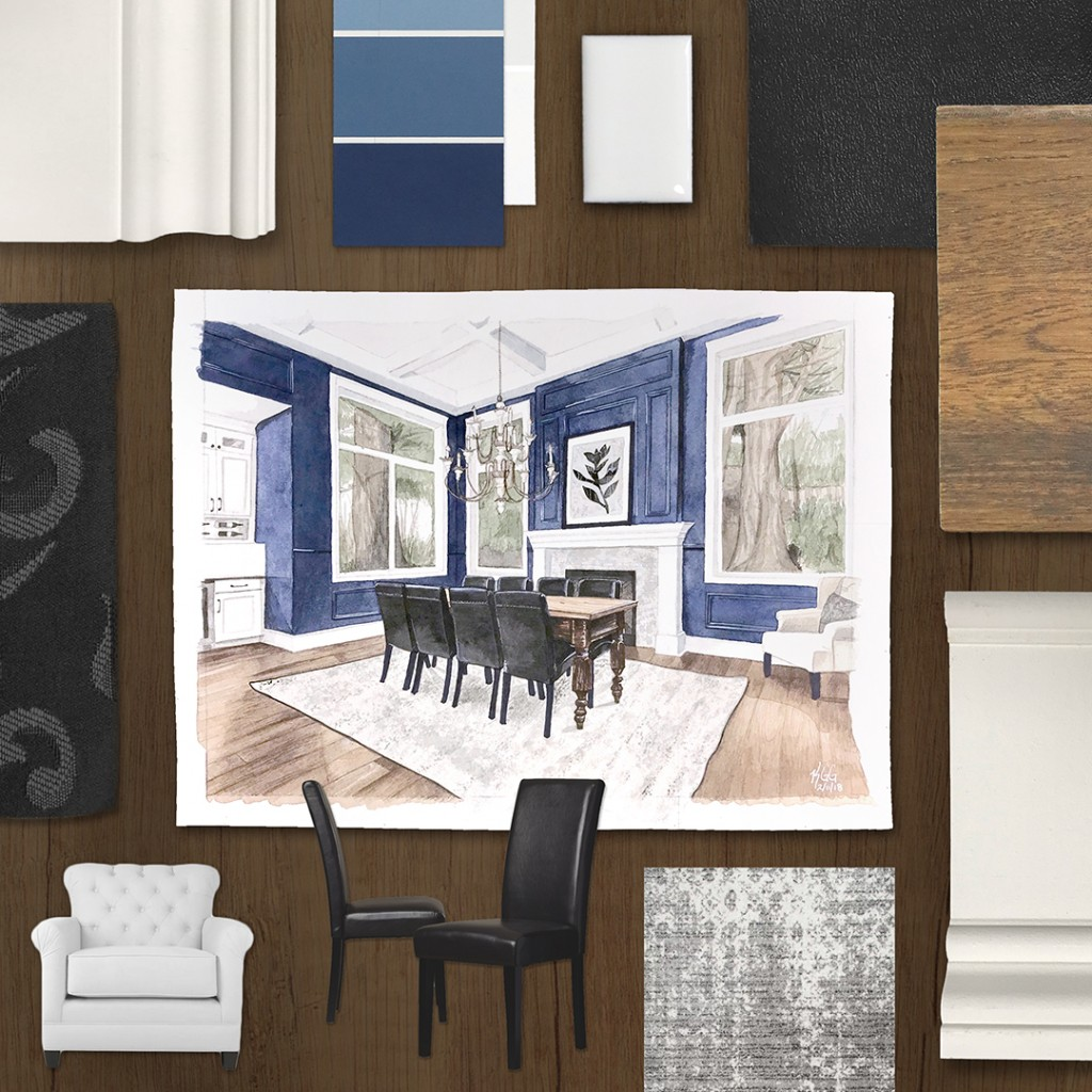 A bold take on classic design, this moodboard pairs modern colors with traditional interior finishings.