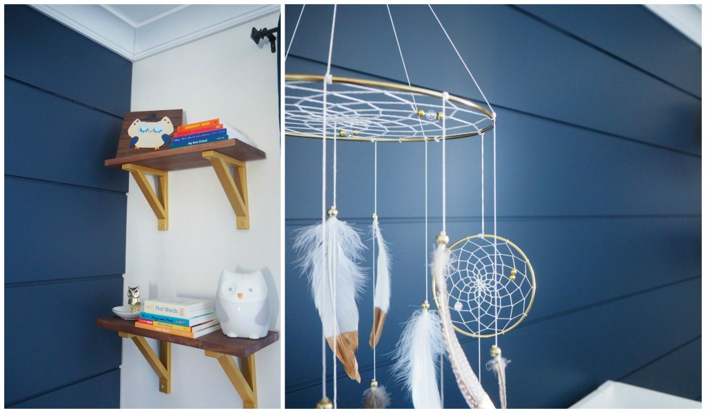 A close up images of a nursery room featuring Metrie Complete Pre-Painted Shiplap