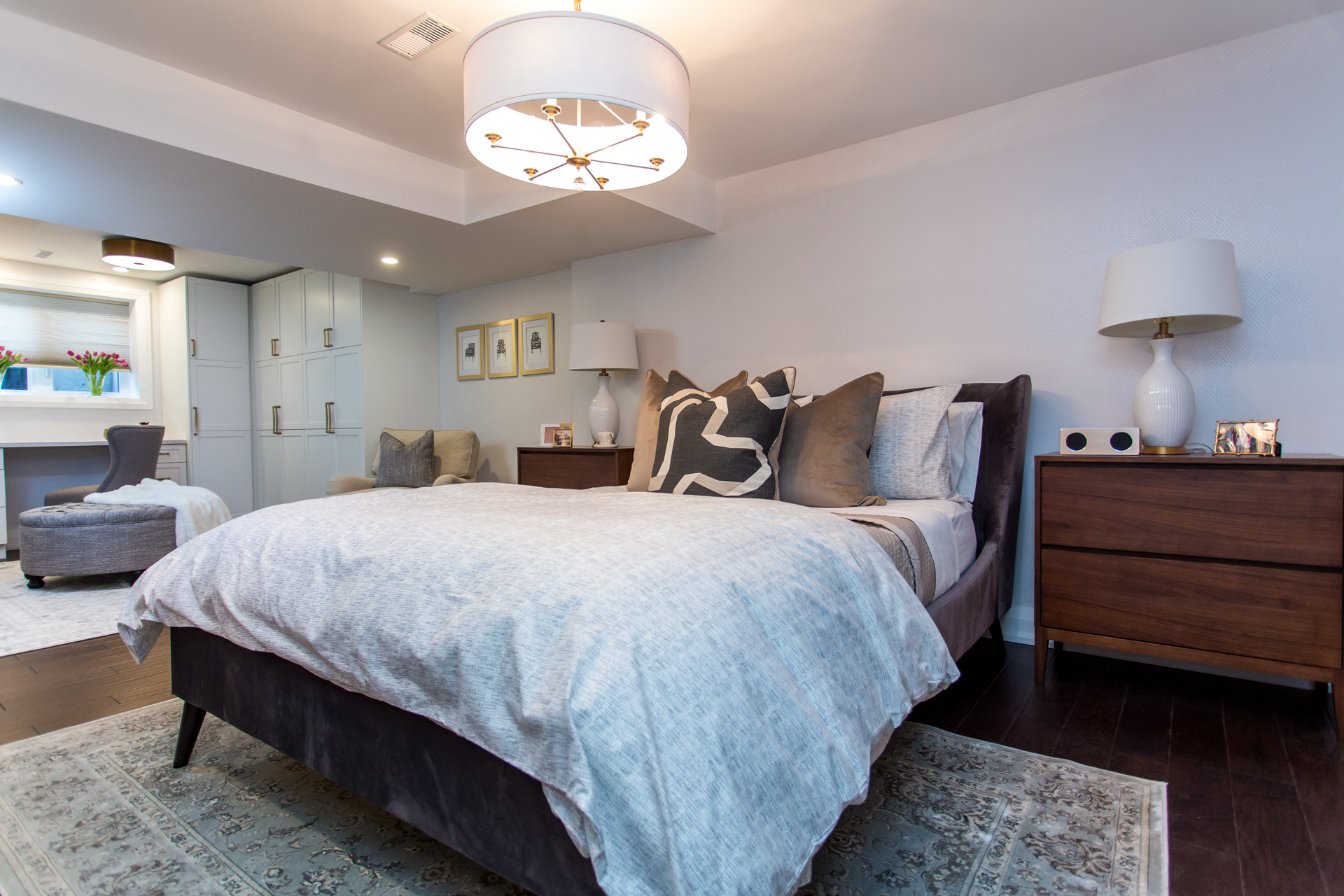 Metrie's interior finishings are incorporated into this calming bedroom on Bryan Inc.