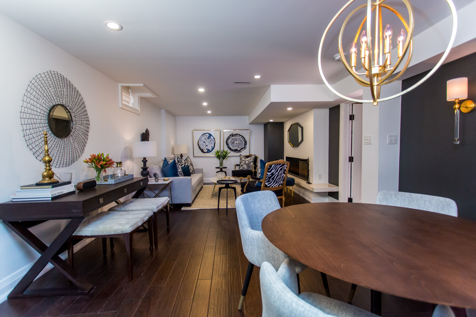 Metrie's Very Square Scene II Baseboard makes a seamless appearance in this stunning basement apartment on Bryan Inc.