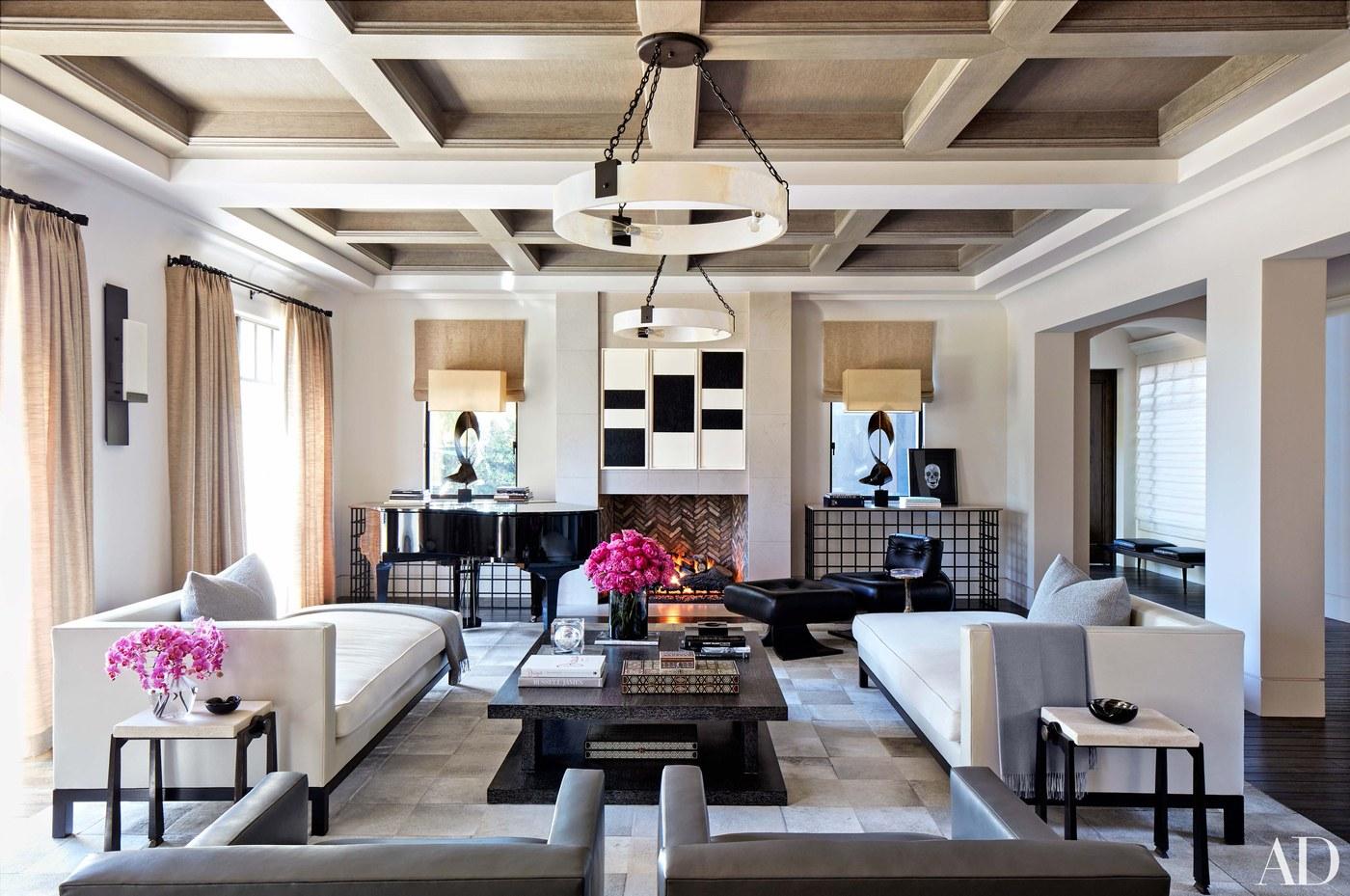 Kourtney Kardashian's California home includes a resplendent coffered ceiling.