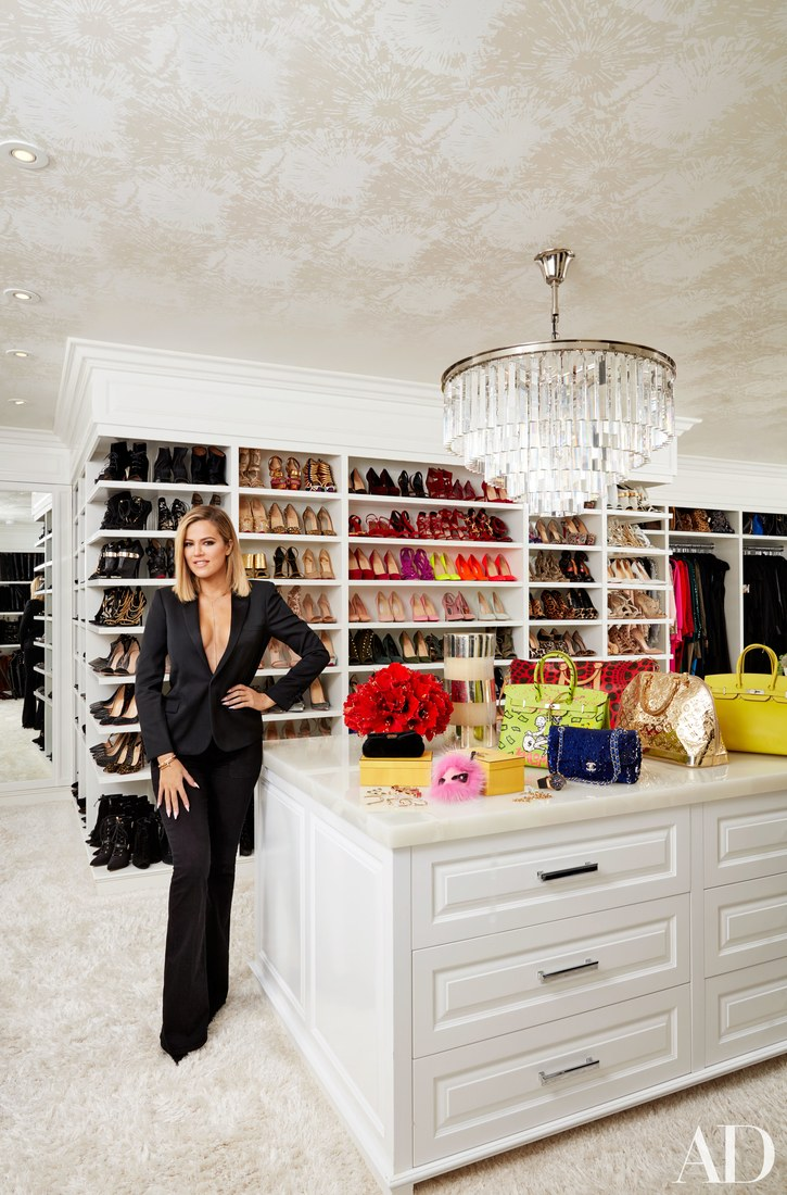 Khloe Kardashian's walk-in closet adorns interior finishings for an elevated appeal.