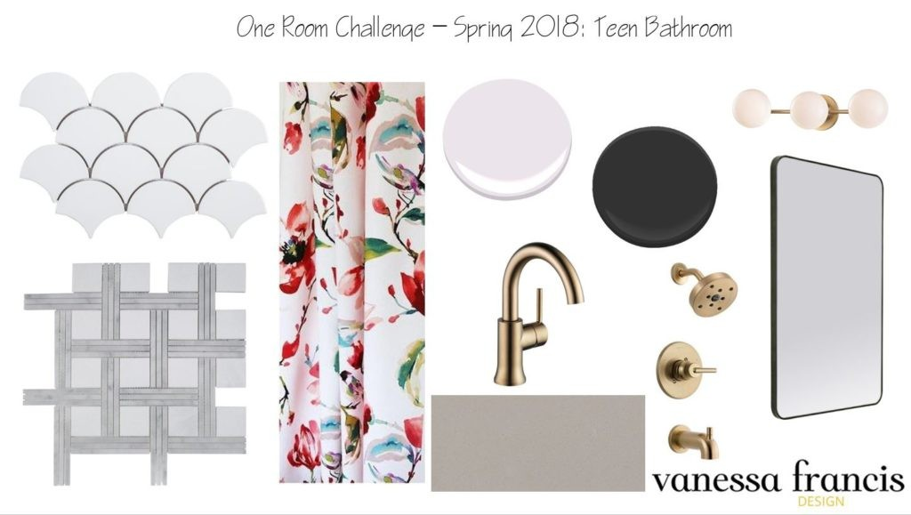 Vanessa Francis' moodboard for her daughter's bathroom
